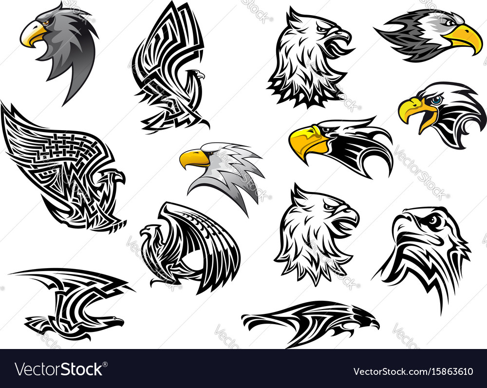Icons eagle hawk bird for mascot or tattoo