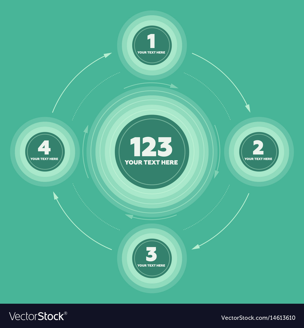 Infographics elements 4 steps and circle header