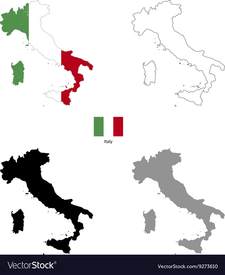 Italy country black silhouette and with flag on