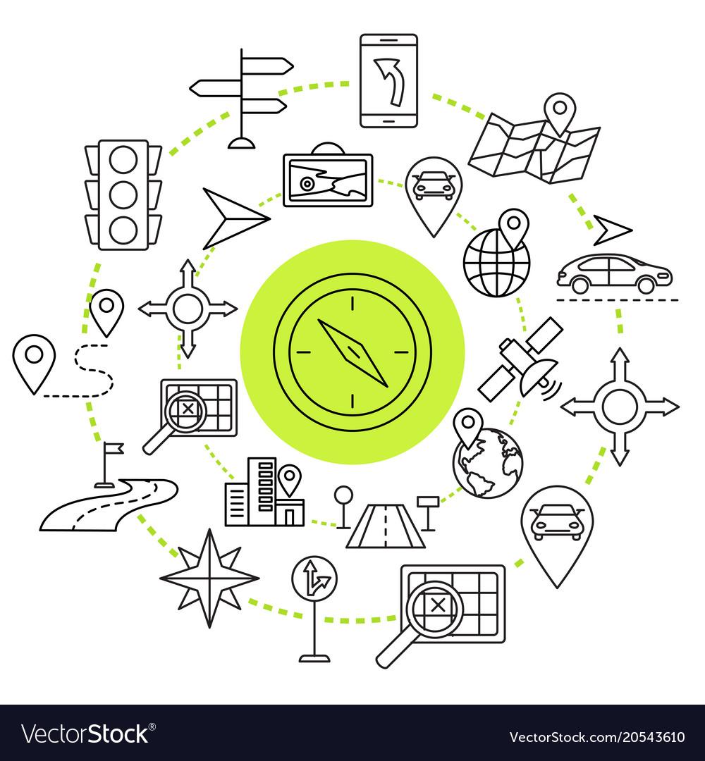 Navigation outline web icons set