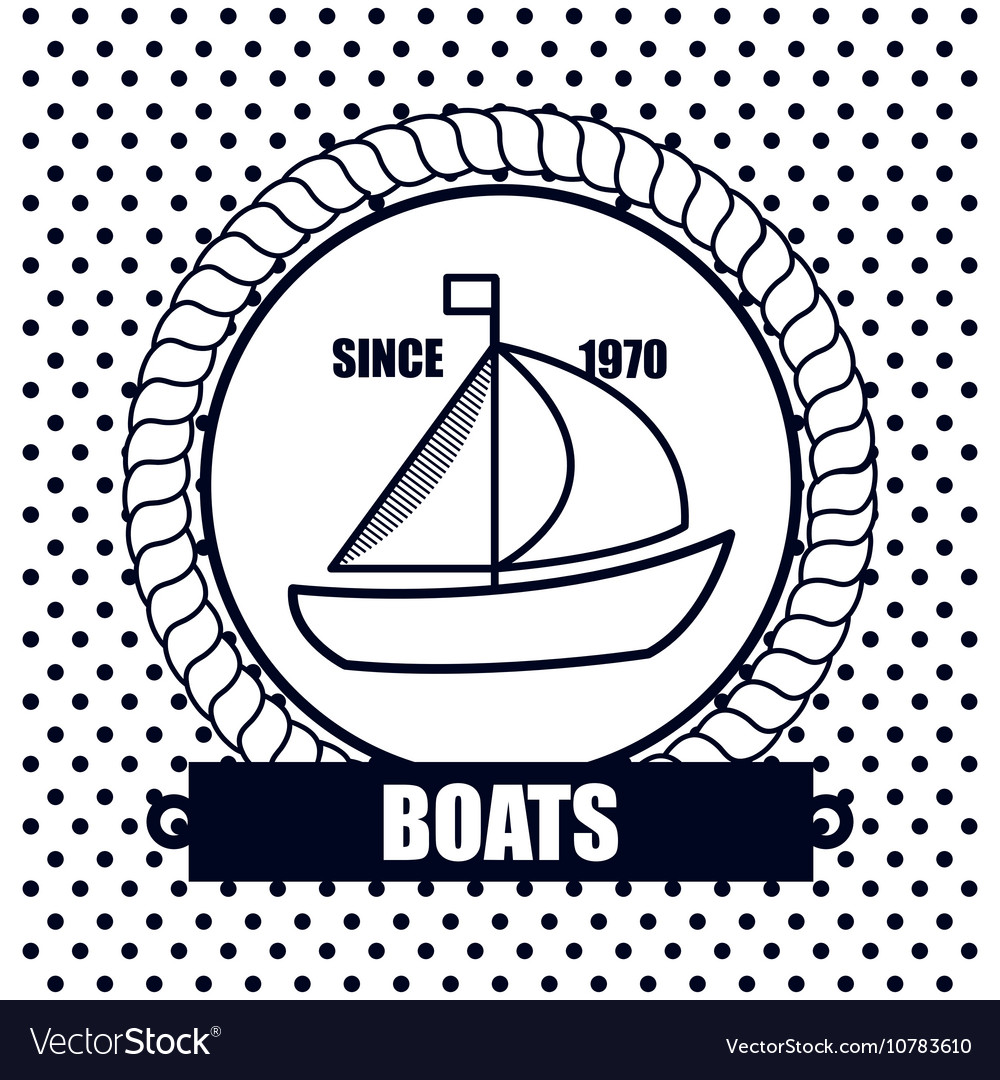 Sailing boat icon background dot design vector image