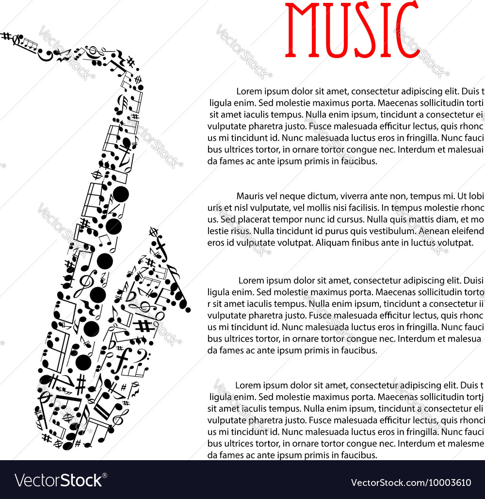 Saxophone made up of musical notes