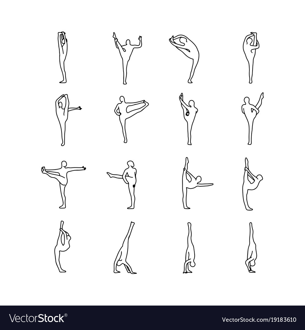 Yoga Poses Outline Sketch Vector Image