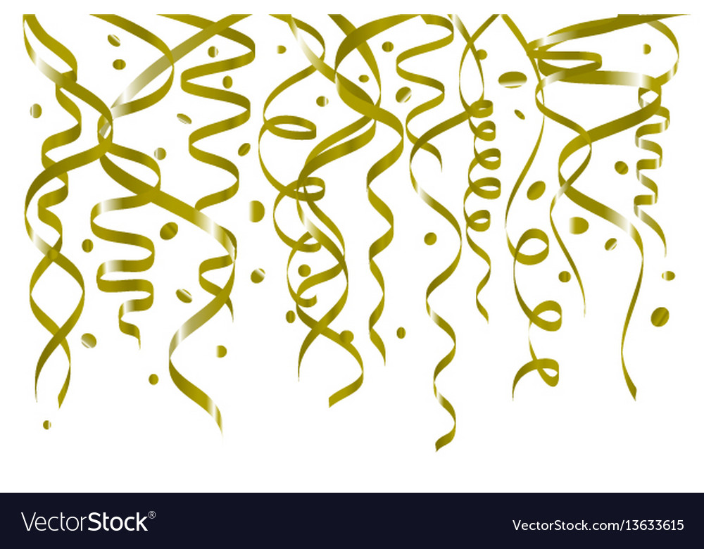 Birthday white background with curling streamers