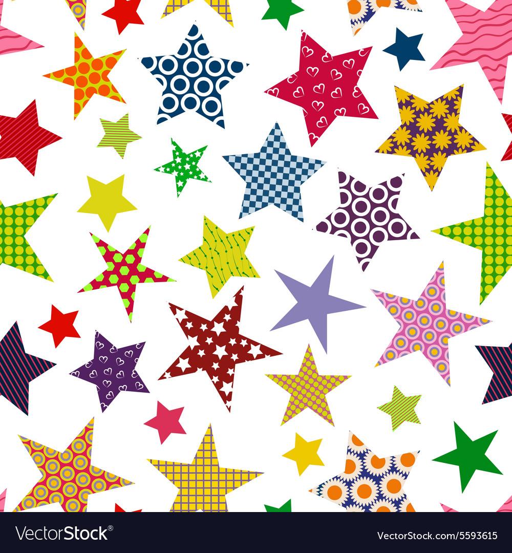 Bright colored stars Seamless pattern