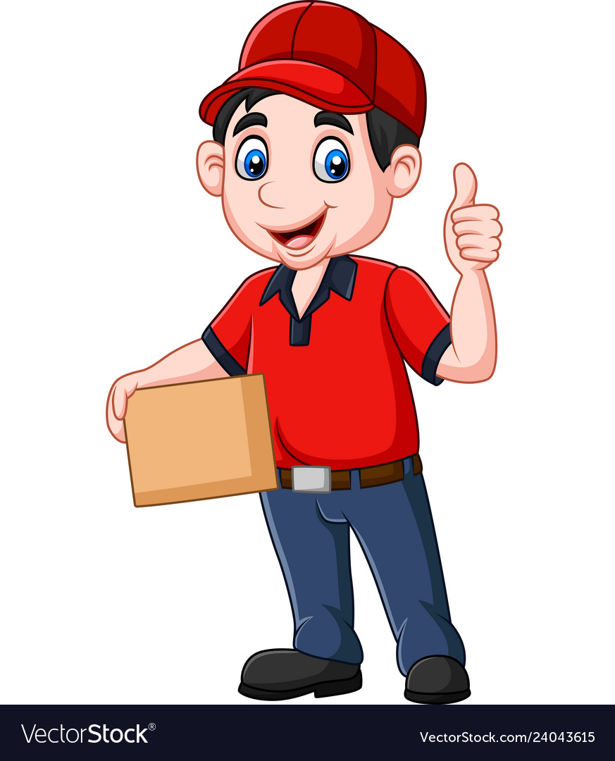 Cartoon delivery courier holding cardboard boxes a