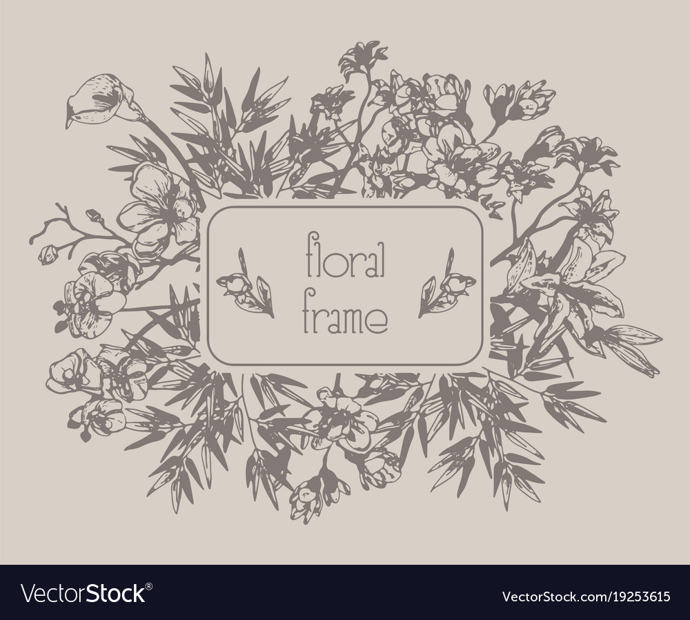 Floral frame with flowers branches leaves
