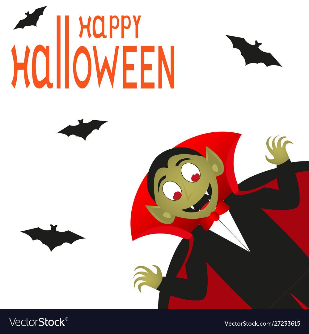 Happy halloween text logo cartoon vampire and bats
