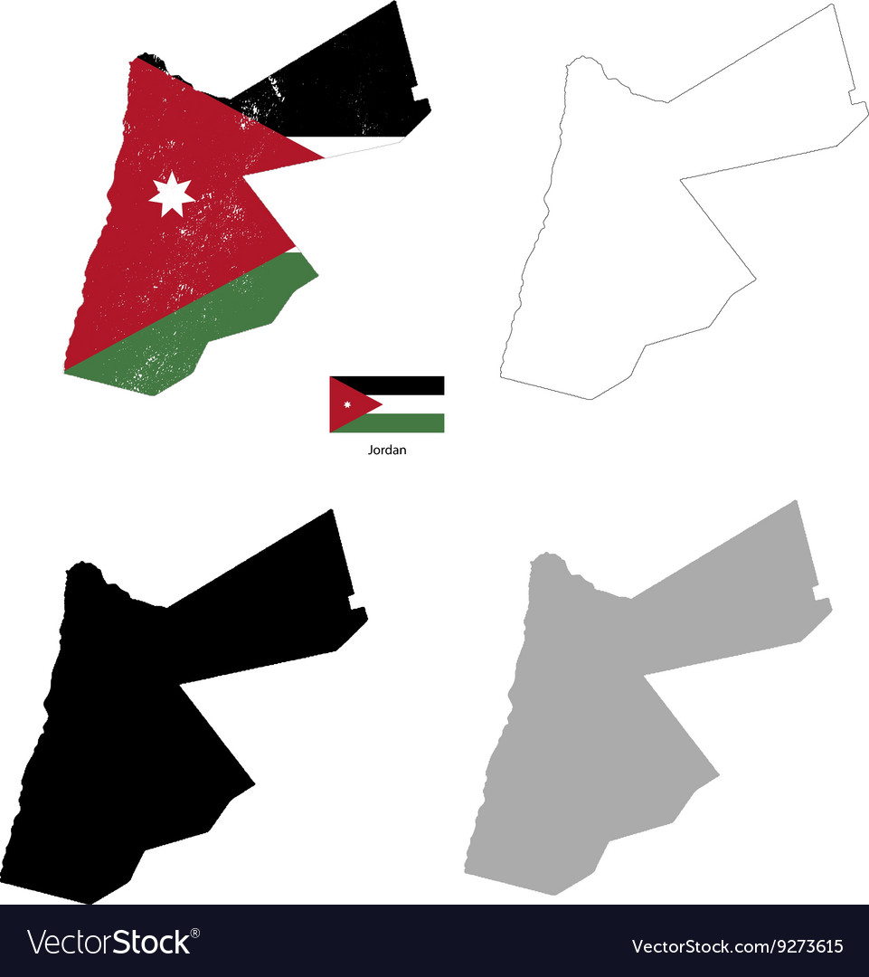 Jordan country black silhouette and with flag
