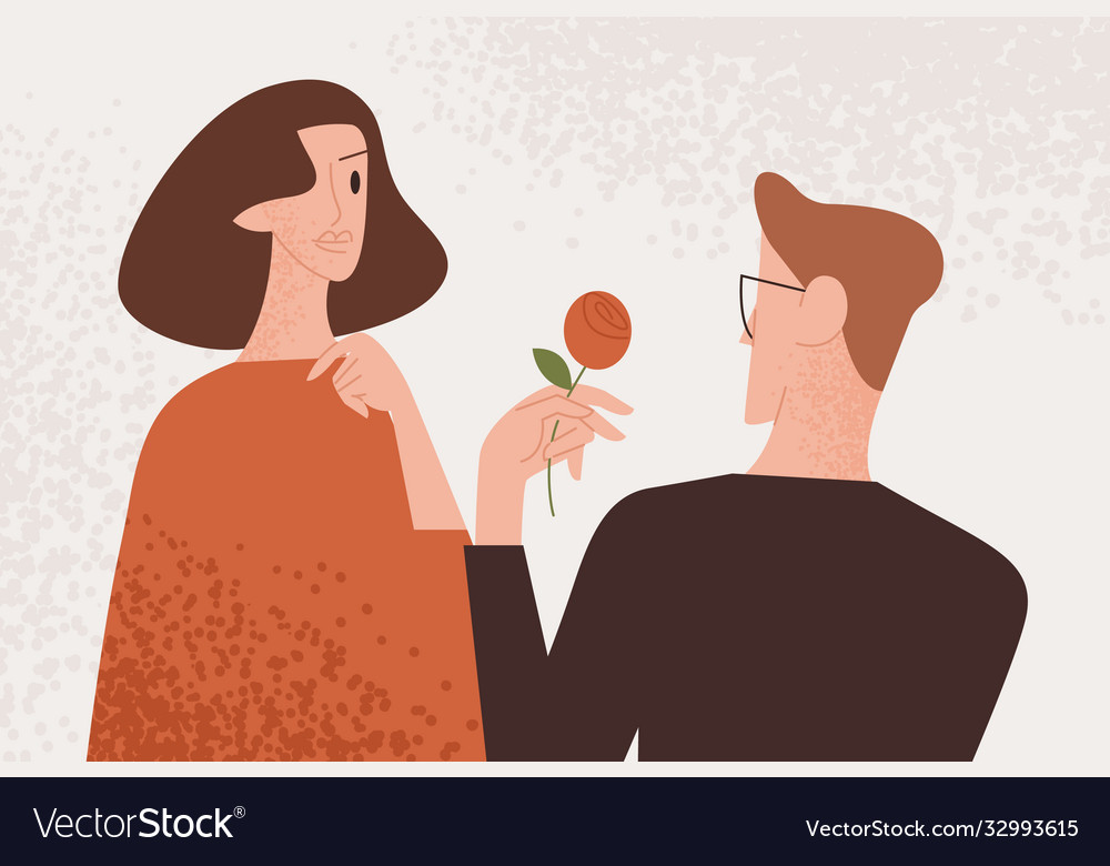 Man admirer giving red rose to attractive woman