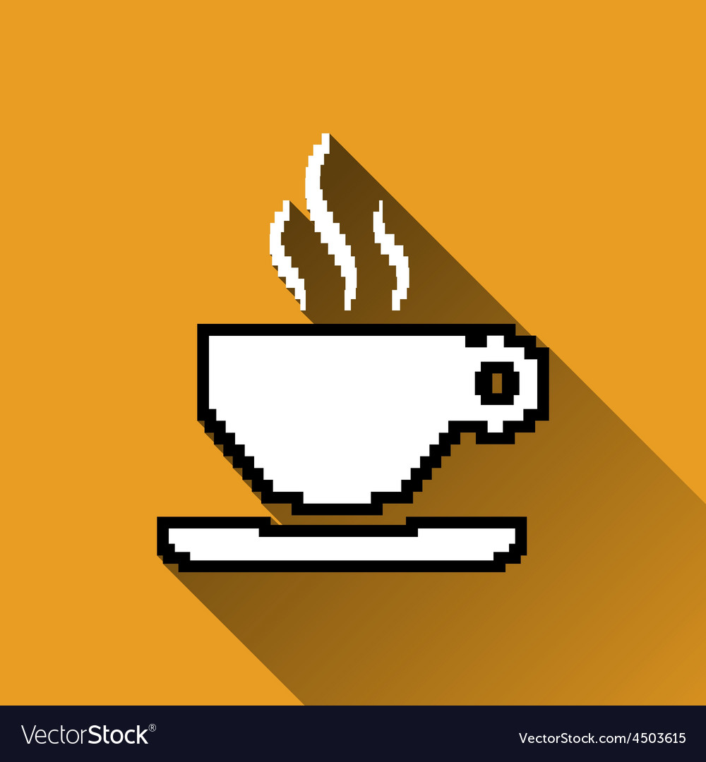 Pixel Coffee Cup Icon Long Shadows
