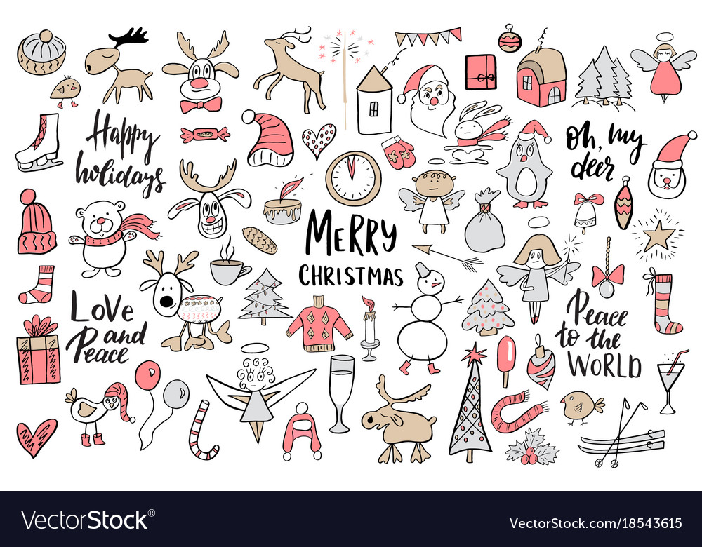 Set of christmas and new year doodle holiday