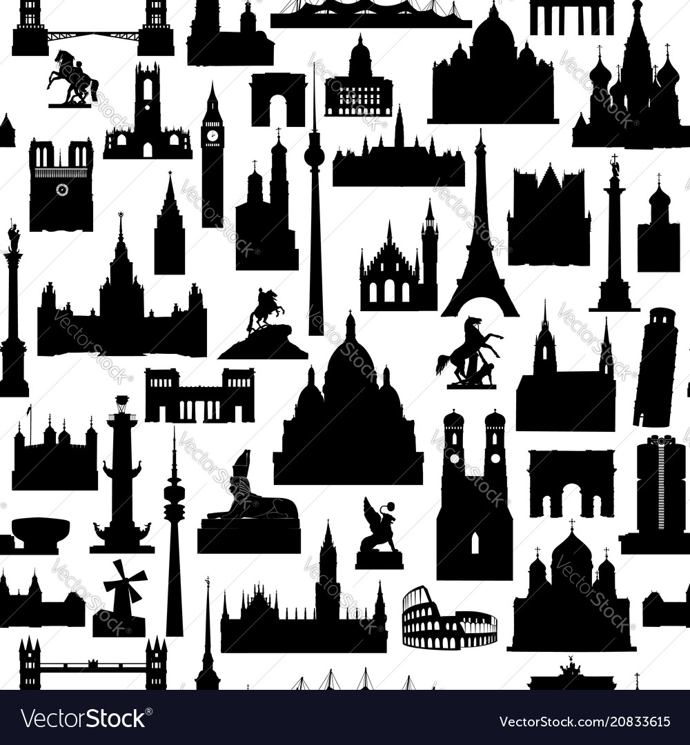 Travel world landmarks tile pattern travel sight
