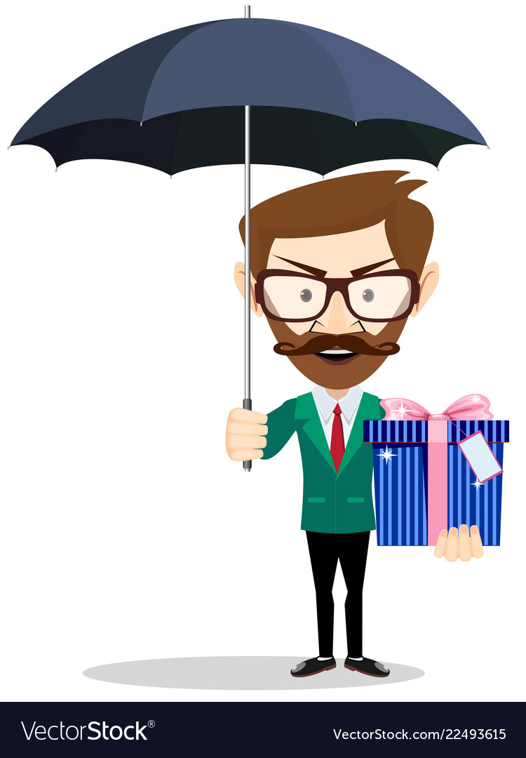 Young Man Holding A Gift For You Under An Umbrella Vector Image