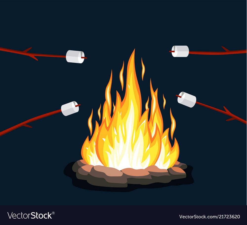 Bonfire with marshmallow stone