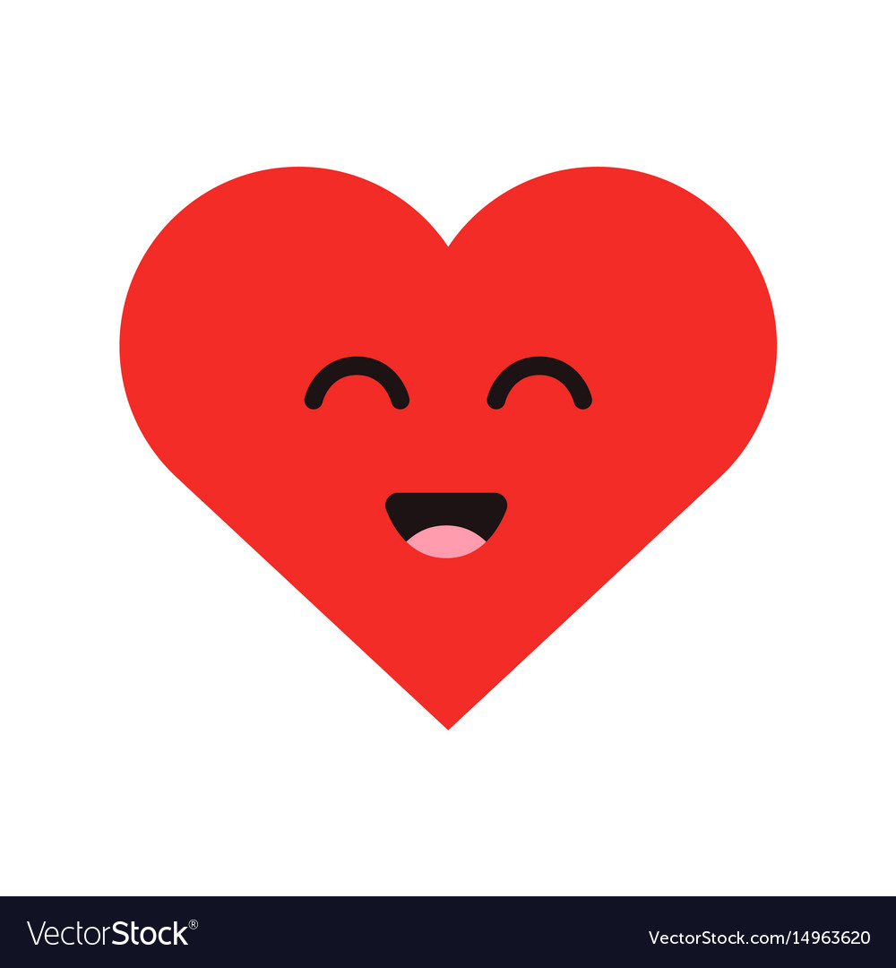 Cute cartoon emoticon happy heart in modern flat