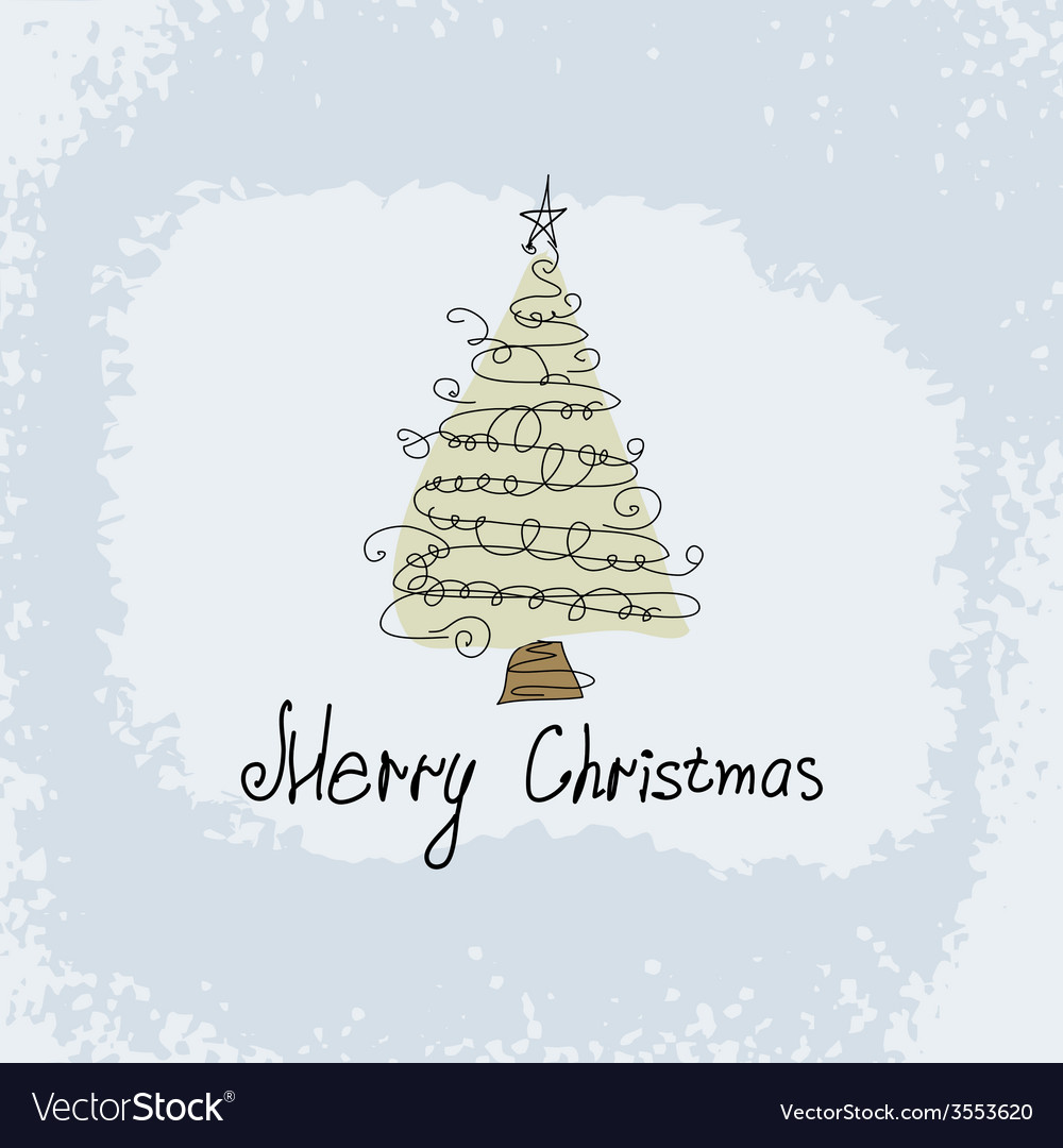Doodle card - abstract christmas tree vector image