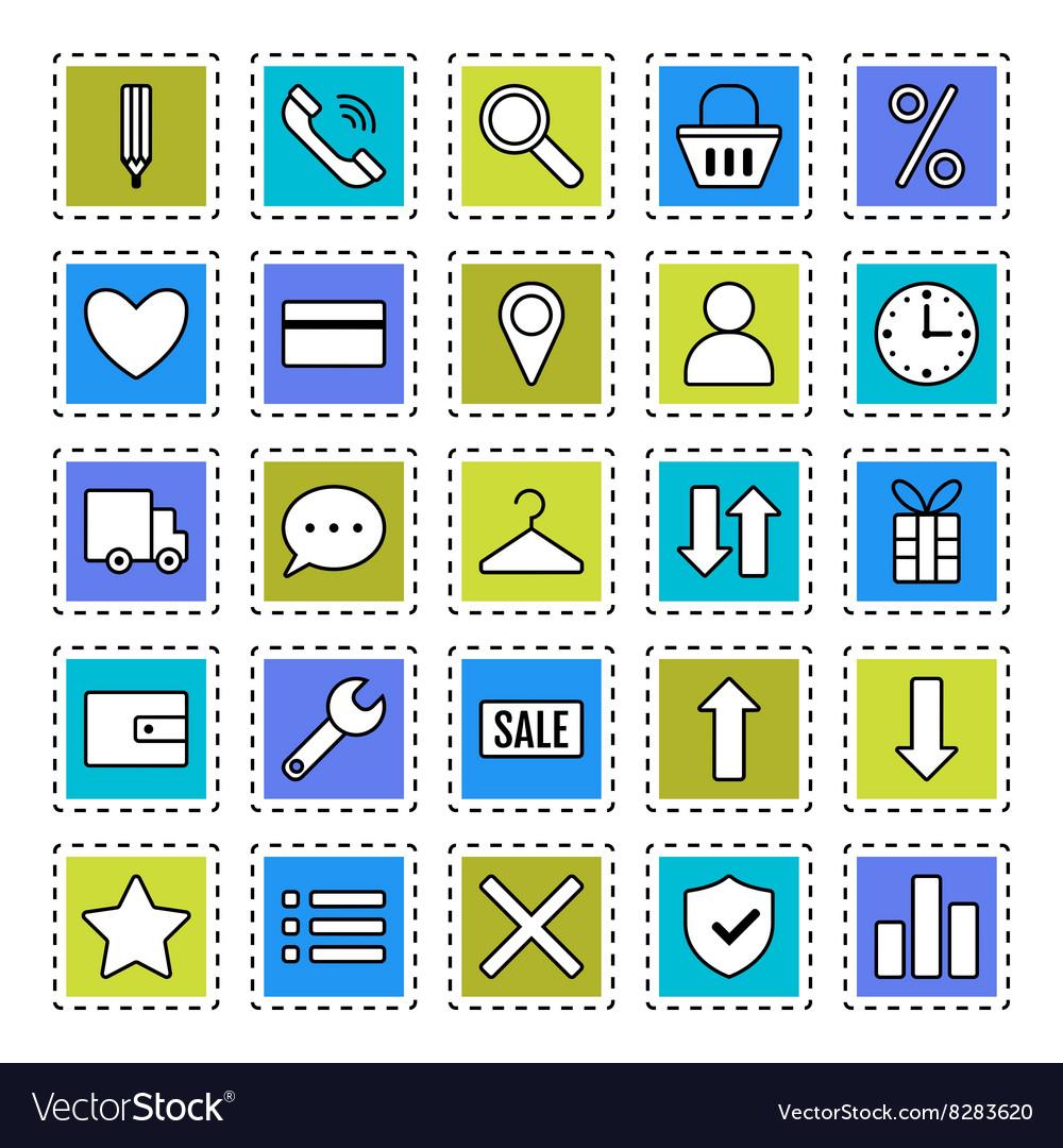 E Commerce Signs Symbols Internet Shopping Flat Vector Image