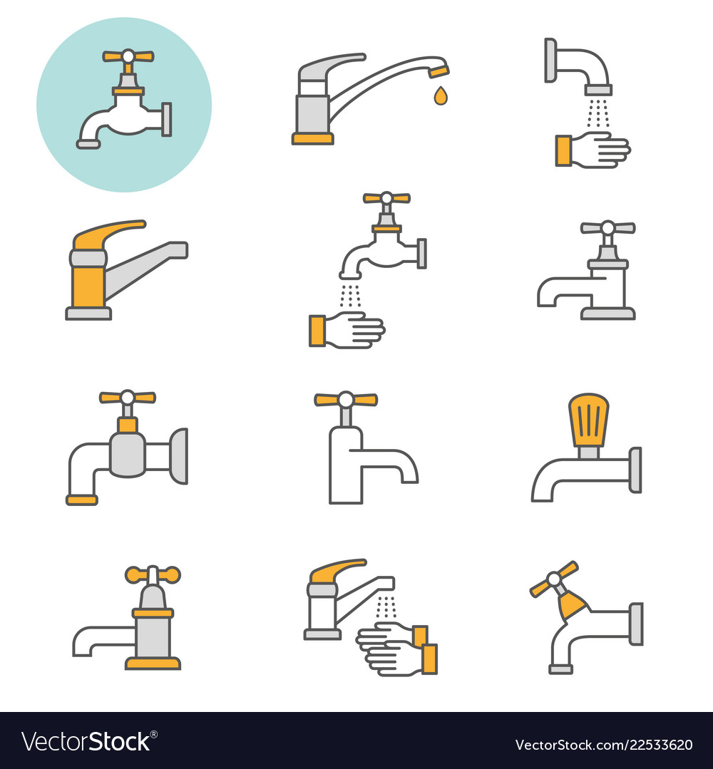Faucet flat line icon set