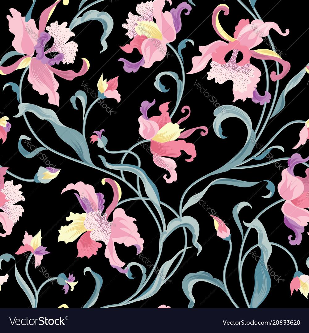 Floral tile pattern flower background garden