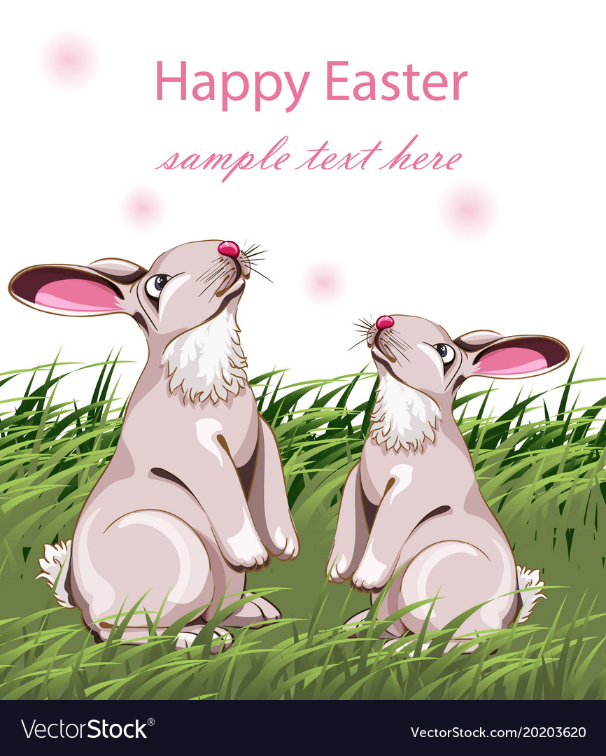 Happy easter card with cute rabbits