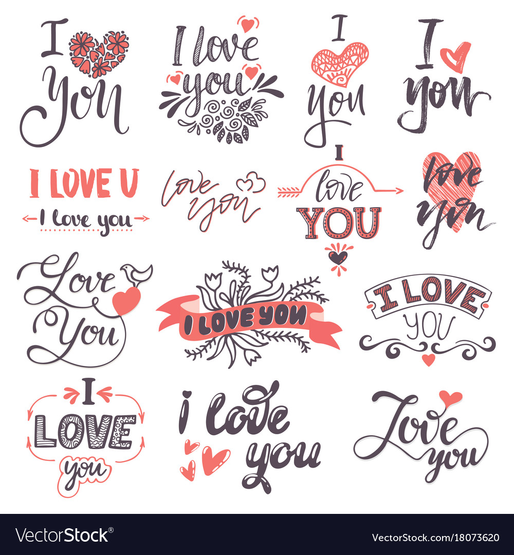 I love you text logo phrases valentine day or