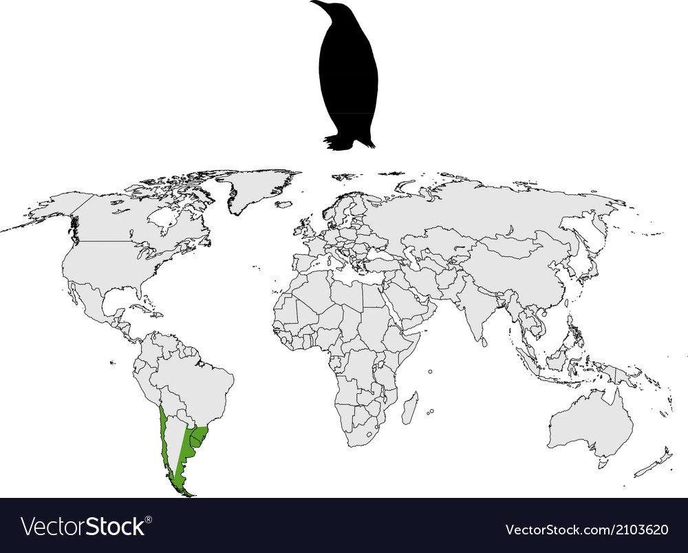 Penguin Map Of The World.Magellanic Penguin Range Royalty Free Vector Image