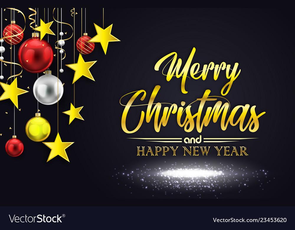 Merry christmas on black ba