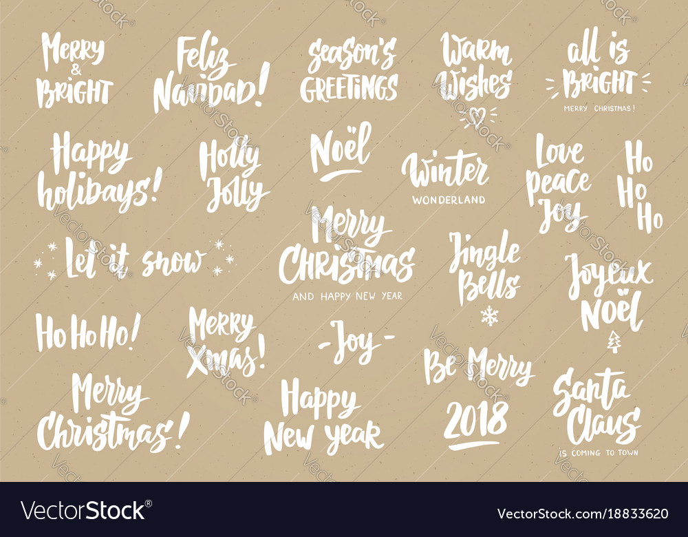 Set of holiday greeting quotes and wishes hand vector image m4hsunfo