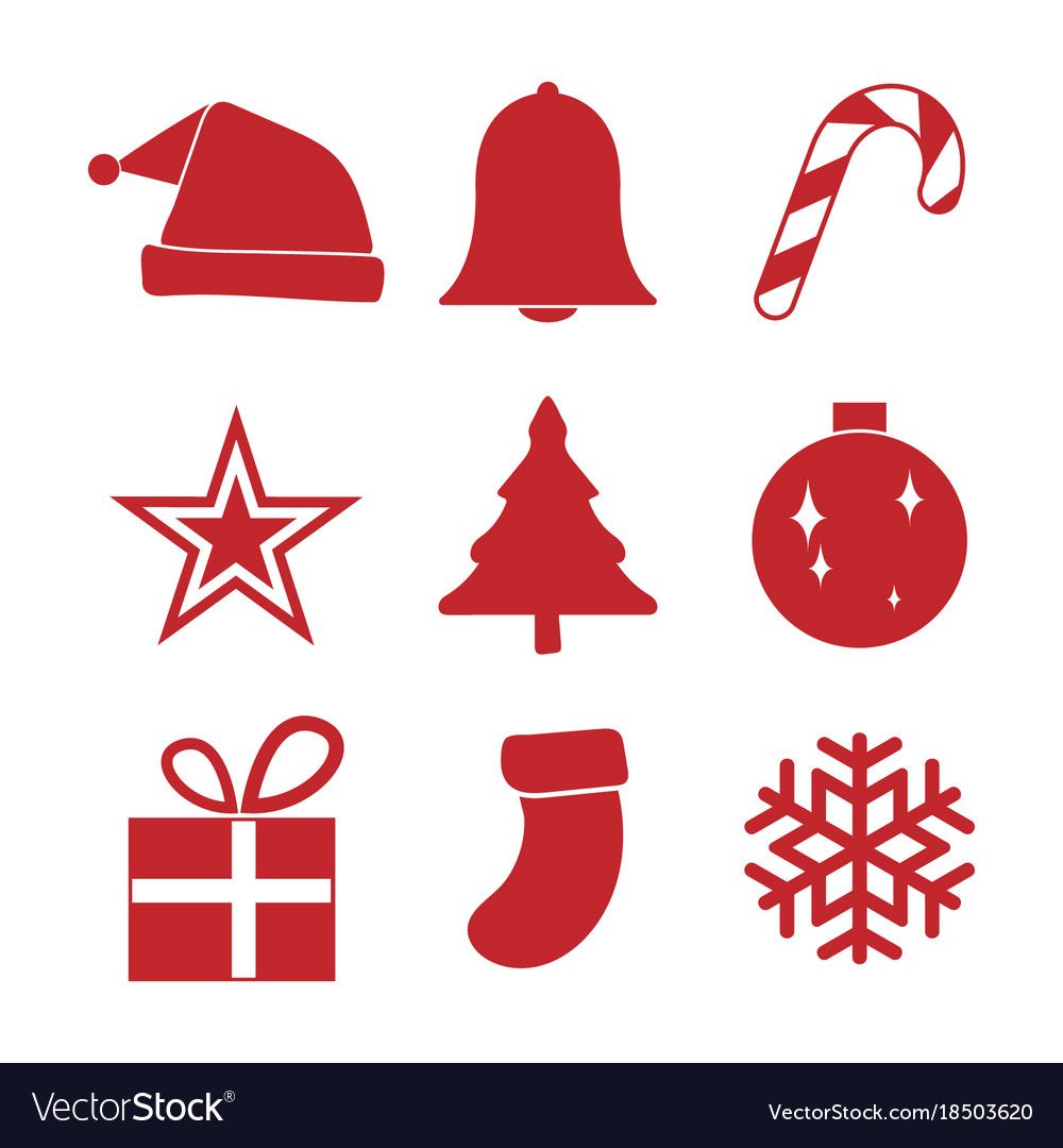 Christmas Ornament Vector.Simple Red Christmas Ornament Icon Set