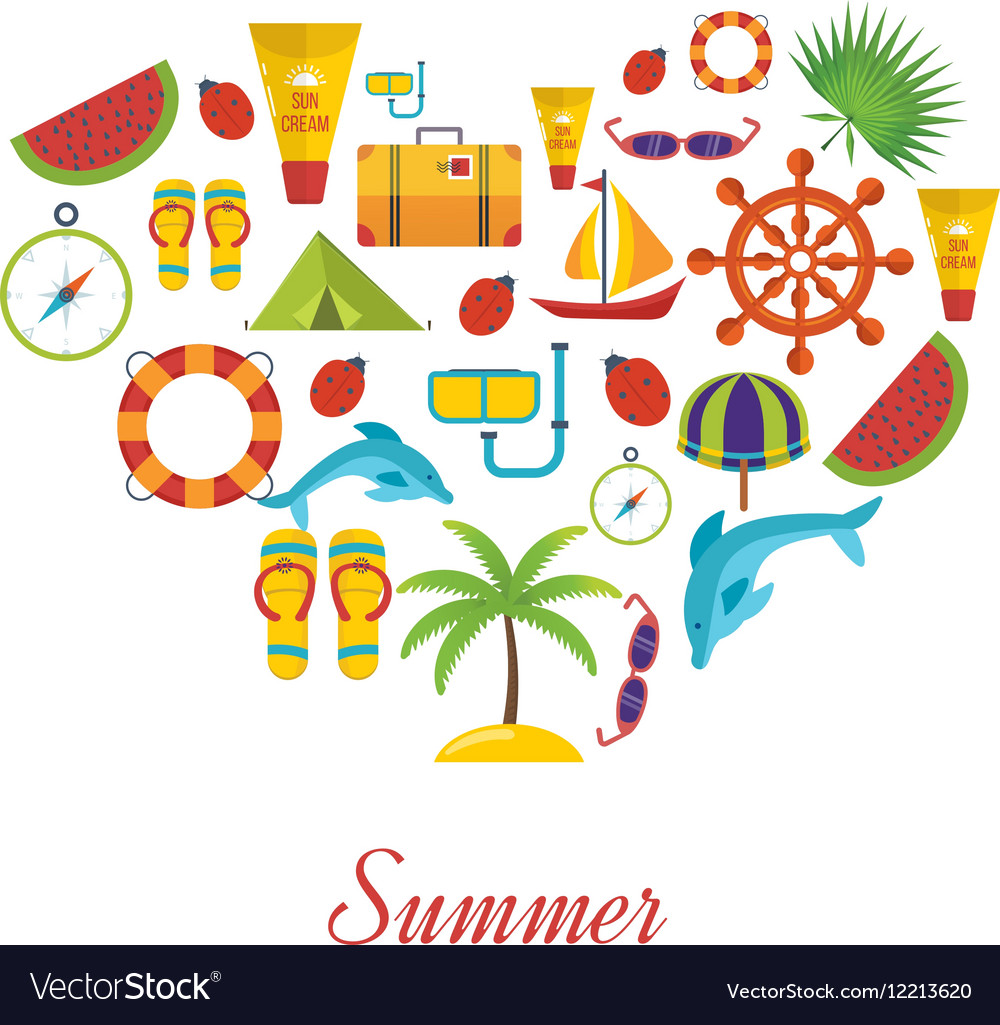 Summer holiday flat icons set