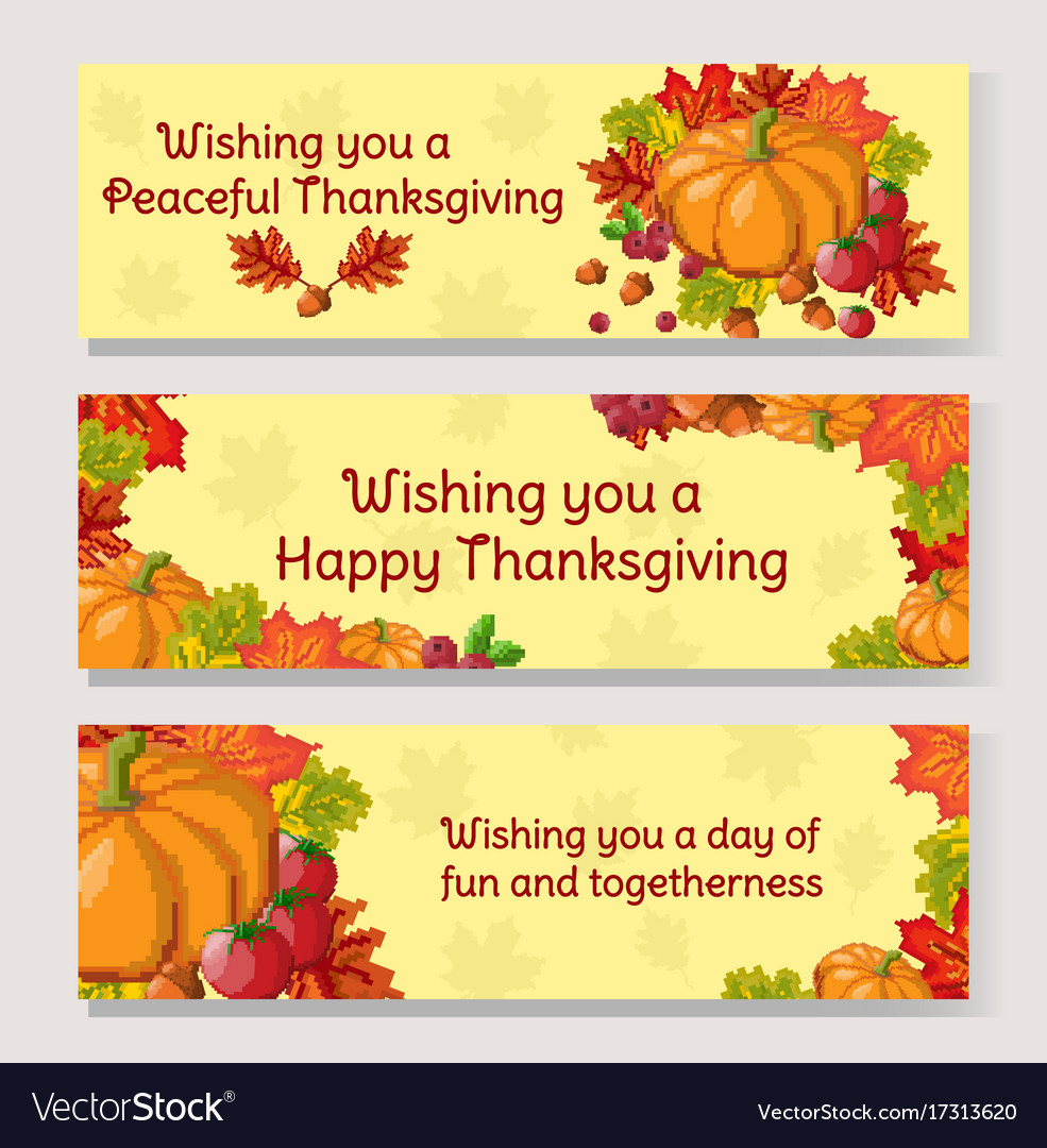 Thanksgiving day banner set pixel art autumn vector image