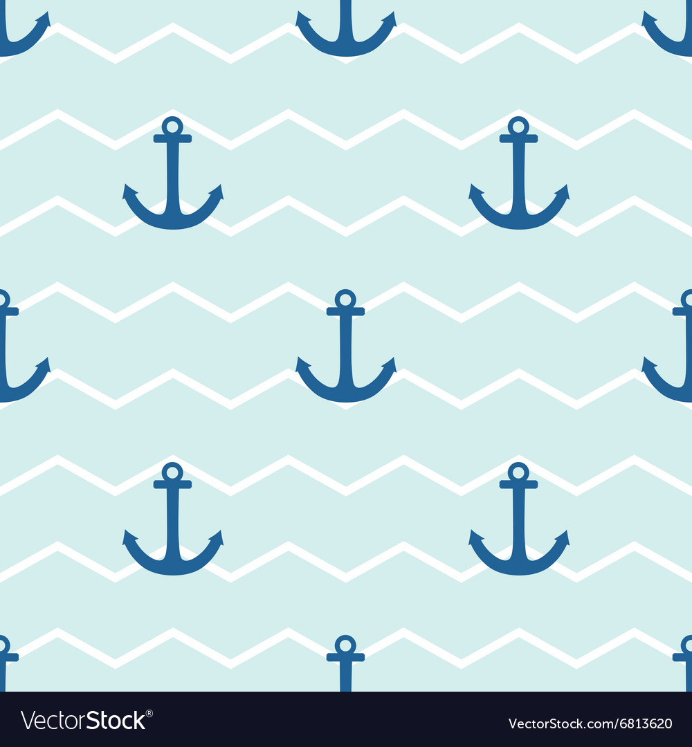 Tile sailor pattern with anchor on stripes