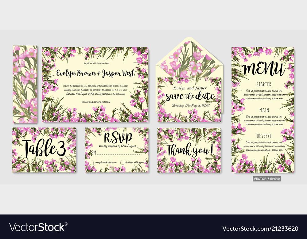 Wedding invite menu rsvp thank you label save