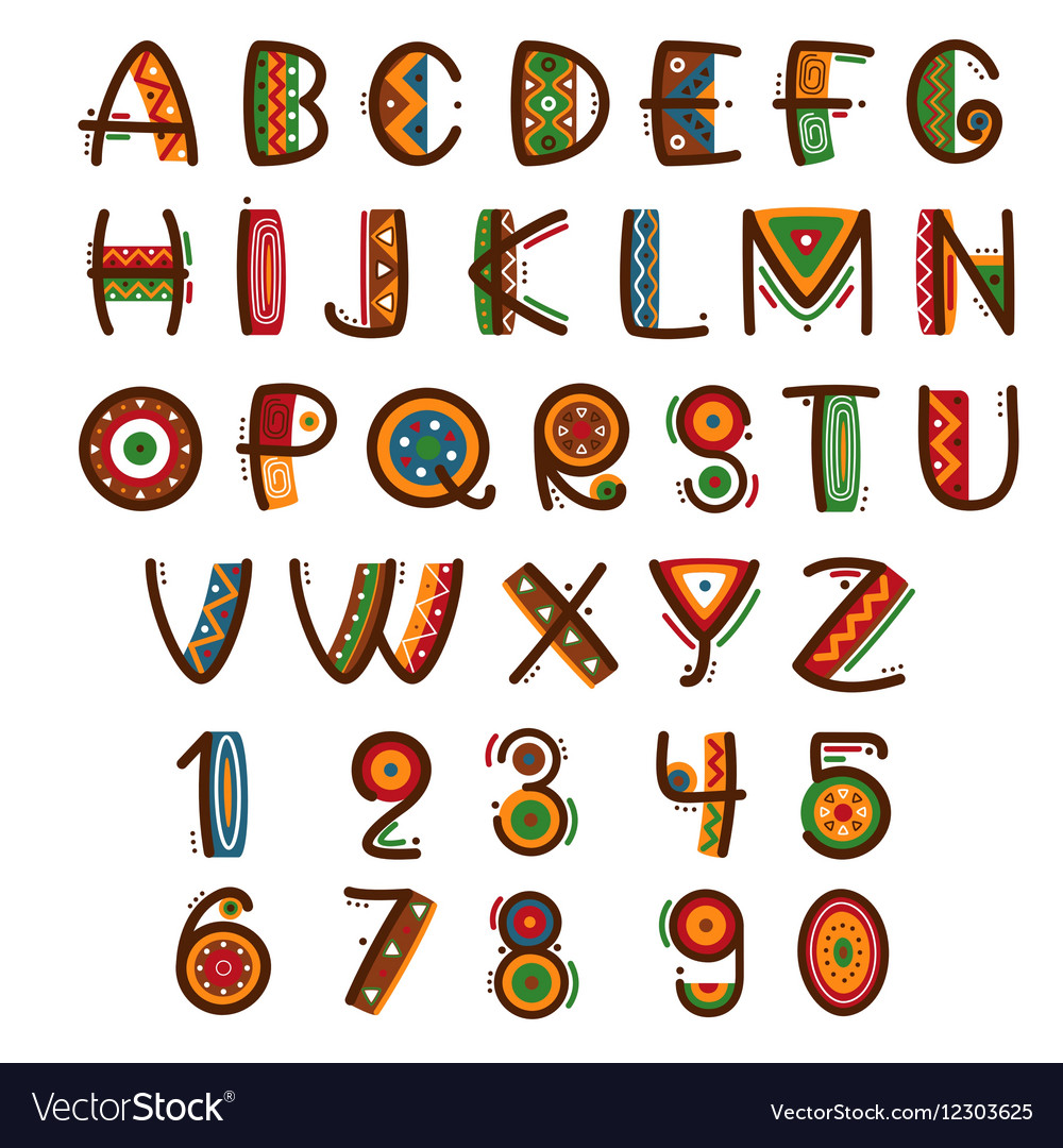 African ethnic primitive font hand drawn brightly