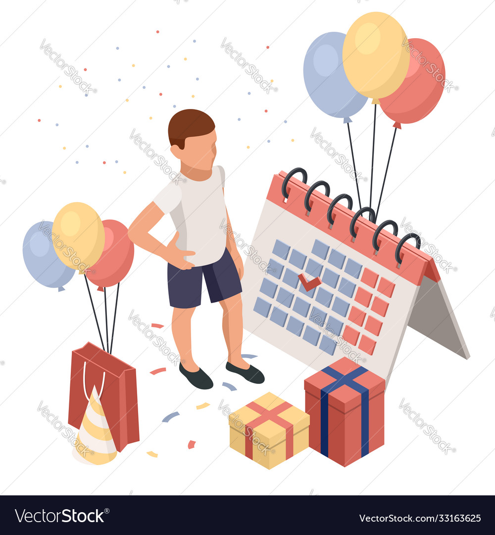 Birthday party isolated concept with colourful