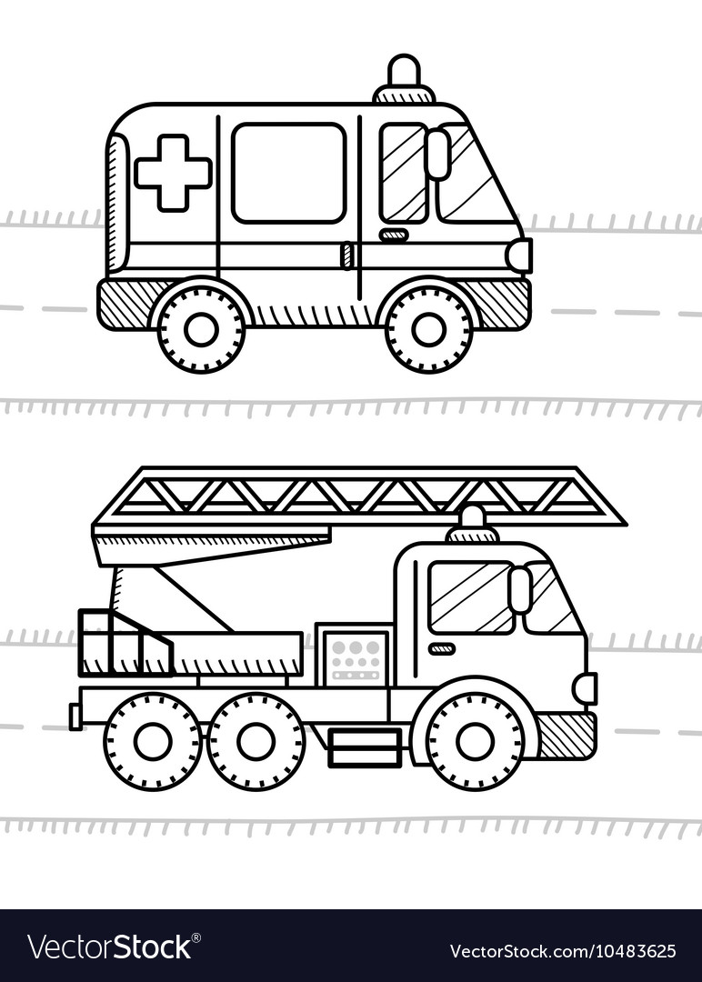 Cars And Vehicles Coloring Book For Your Kids Vector Image