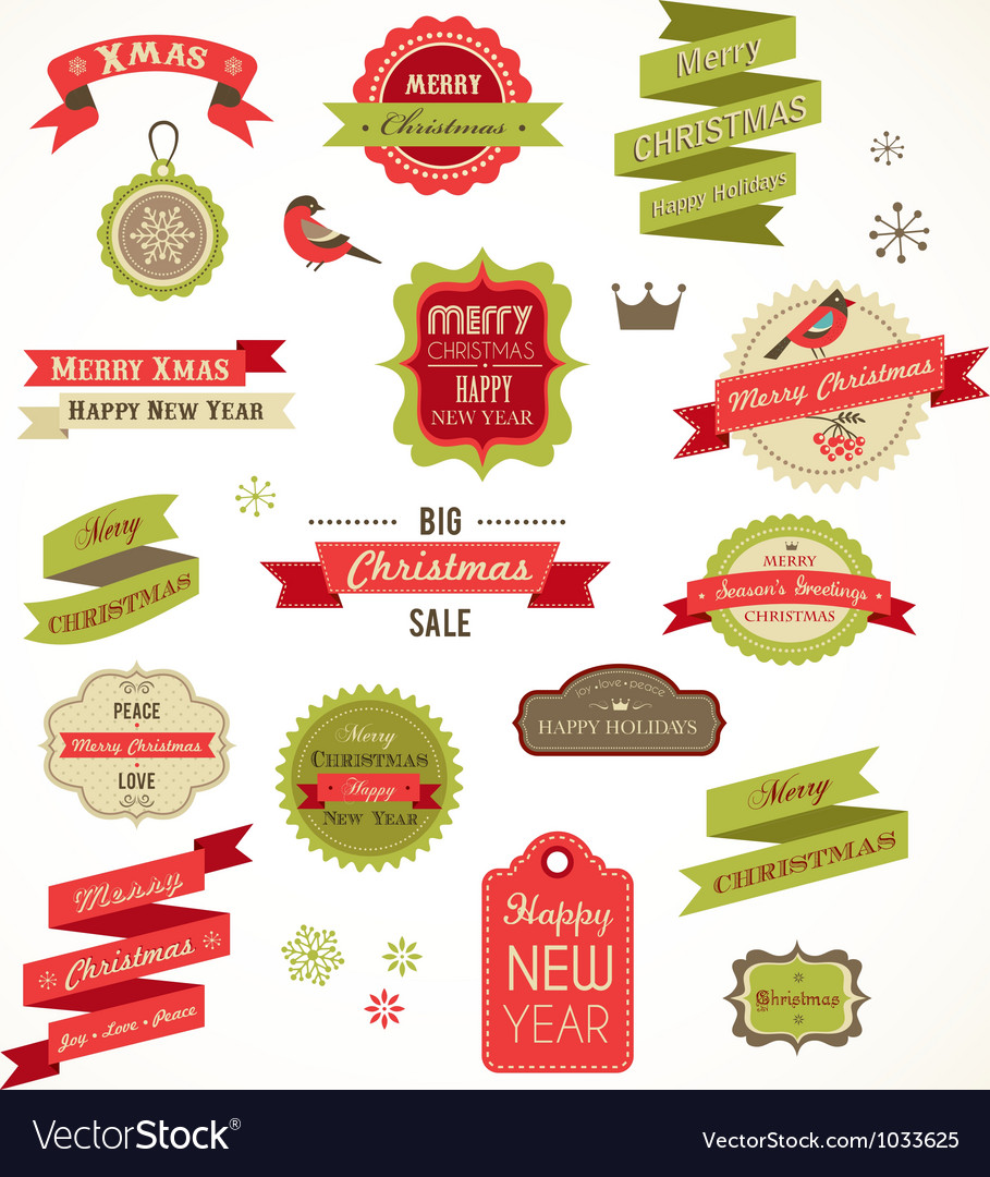 Christmas vintage labels elements and