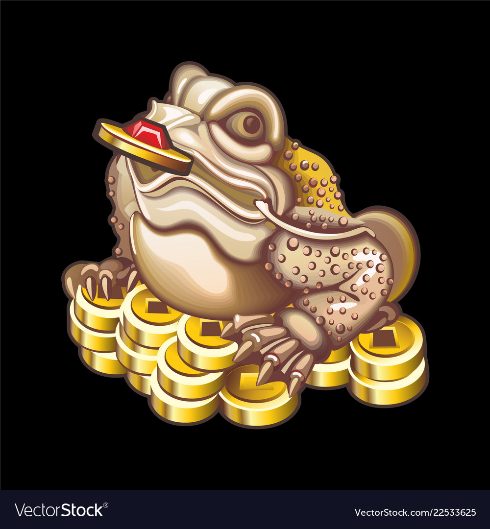 Collection of mascots frog with coins