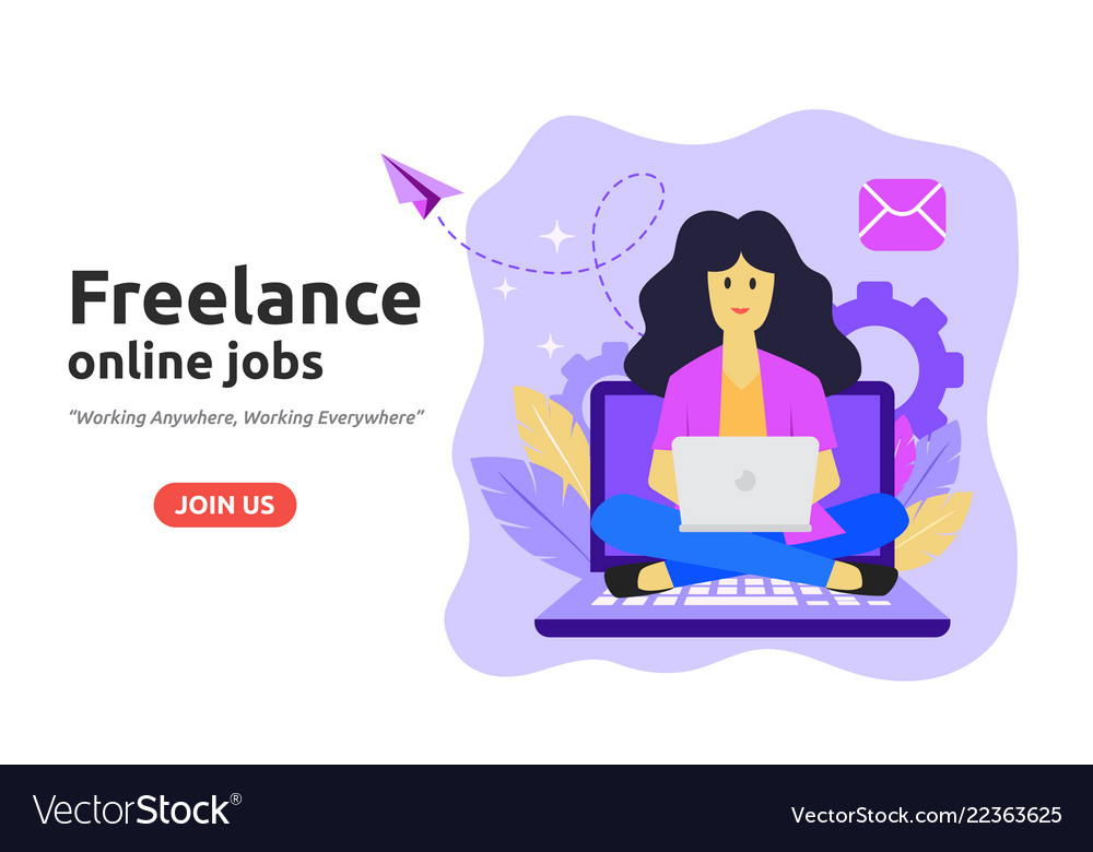 Freelance online job design concept freelancer