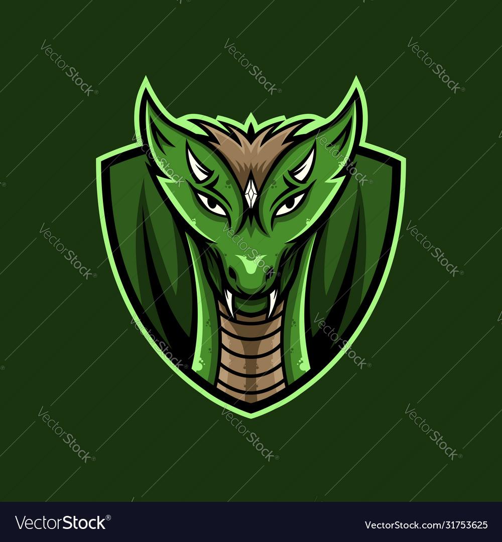 Green dragon face mascot logo