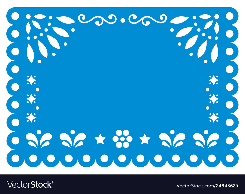 Papel picado template design in blue