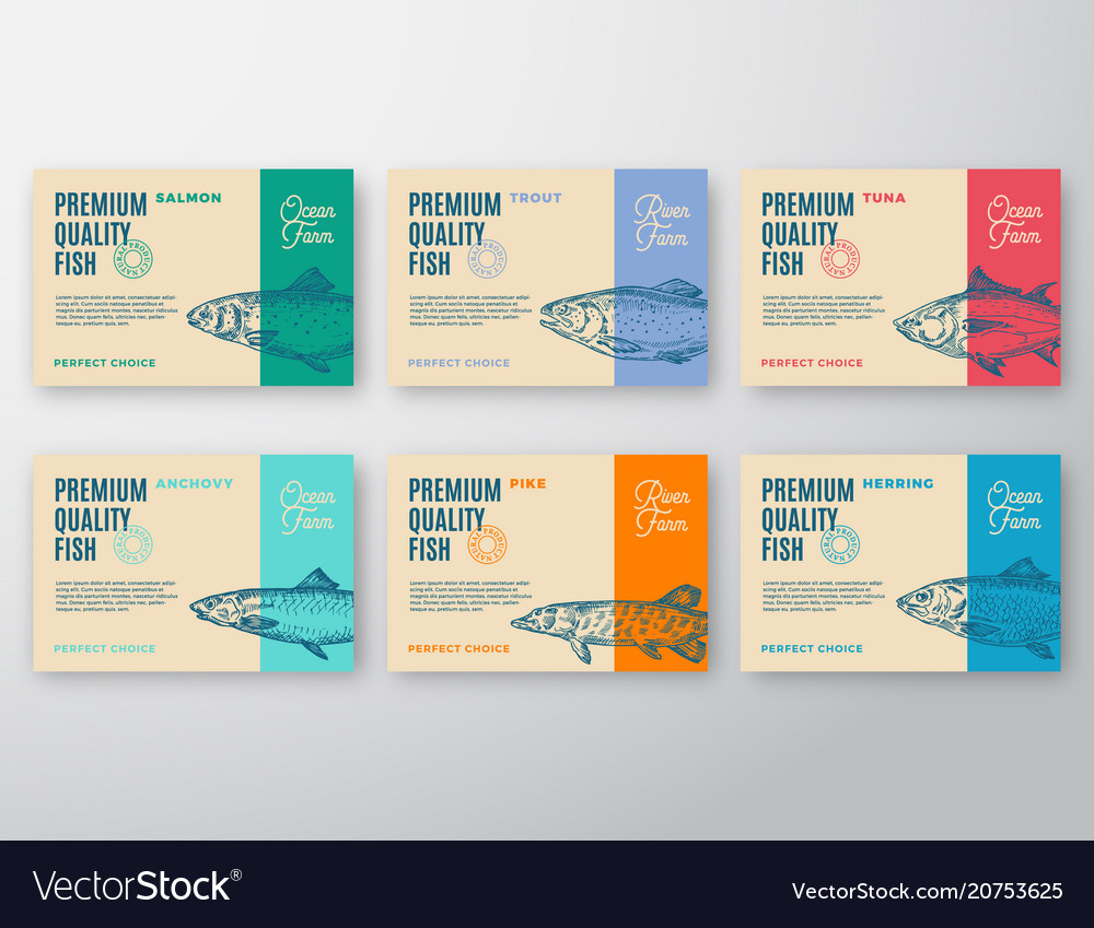 Premium quality fish labels set abstract