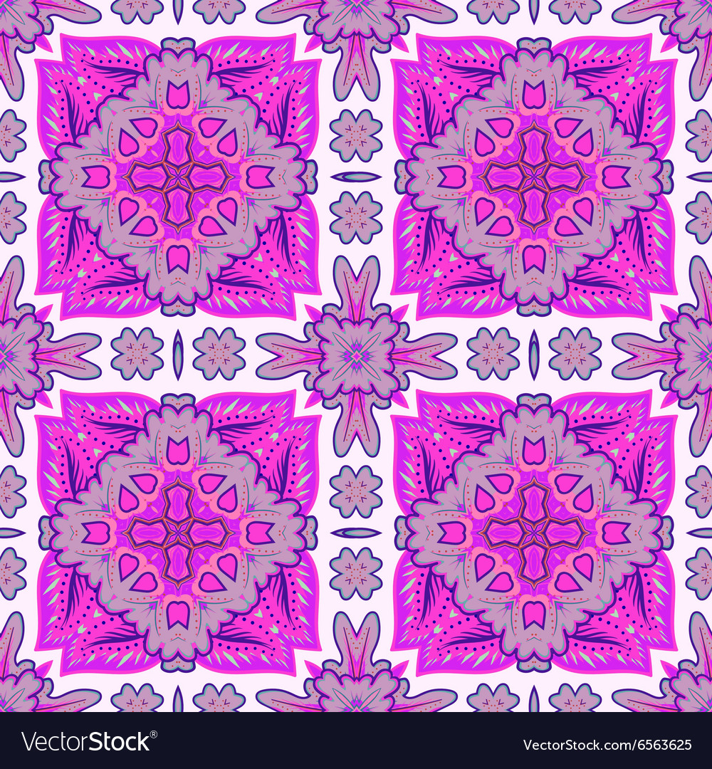 Seamless patchwork pattern from Moroccan tiles vector image