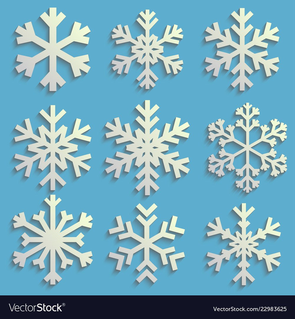 Snowflakes set with transparent shadow winter