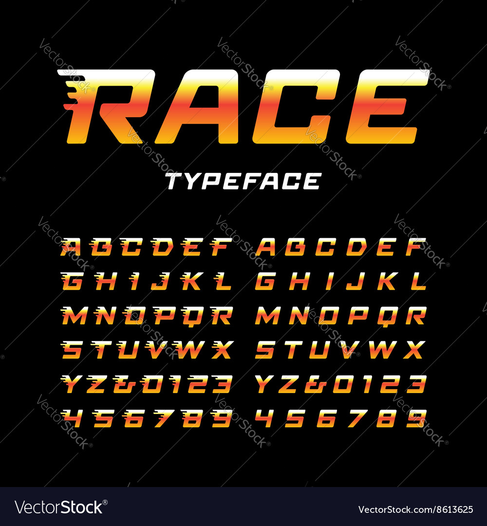 Sport font alphabet with tail effect letters and vector image
