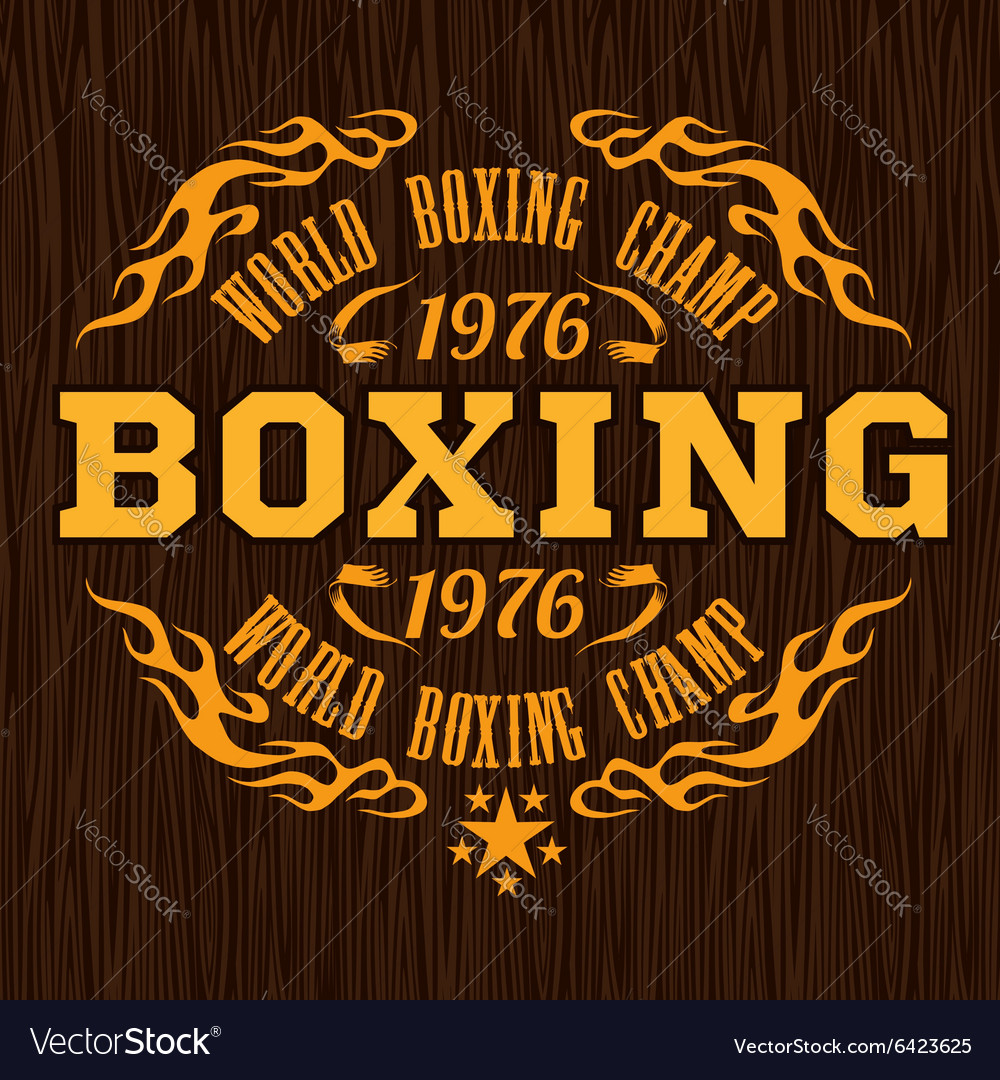Vintage logo for a boxing - gold on wood