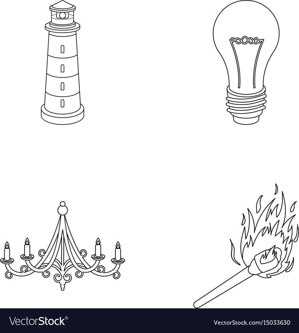 A lighthouse an incandescent lamp a chandelier vector image