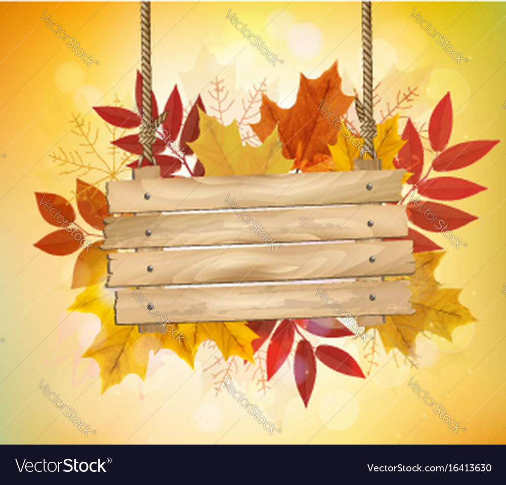 Autumn background with leaves and wooden sign