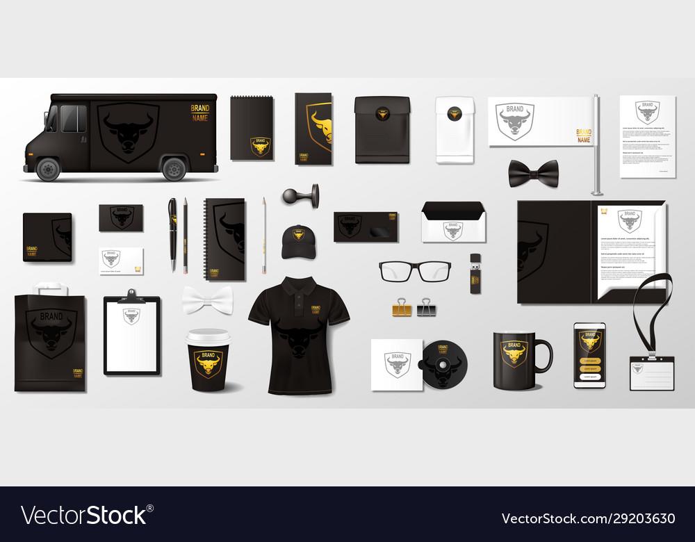 Black corporate branding template van folder